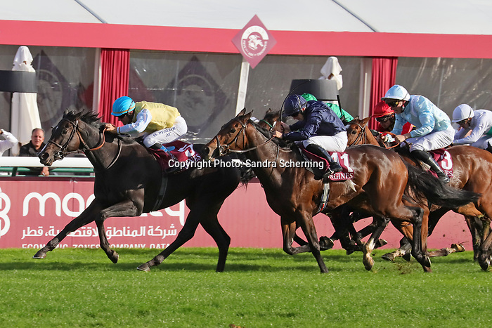 October 06, 2019, Paris (France) - Villa Marina (5) with Olivier Peslier up wins the Prix de l'Opéra Longines (Gr I) on October 6 in ParisLongchamp. [Copyright (c) Sandra Scherning/Eclipse Sportswire)]