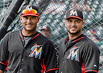 19 March 2015: Miami Marlins infielder Donovan Solano (left) and catcher Jhonatan Solano (right) pose for a photo prior to a Spring Training game against the Atlanta Braves at Champion Stadium in the ESPN Wide World of Sports Complex in Kissimmee, Florida. The Braves defeated the Marlins 6-3 in Grapefruit League play. Mandatory Credit: Ed Wolfstein Photo *** RAW (NEF) Image File Available ***