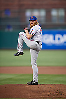 Round Rock Express starting pitcher A.J. Griffin (56) delivers a pitch during a game against the Memphis Redbirds on April 28, 2017 at AutoZone Park in Memphis, Tennessee.  Memphis defeated Round Rock 9-1.  (Mike Janes/Four Seam Images)