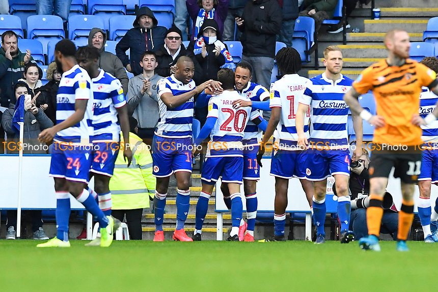 Jordan Obita of Reading (11) is congratulated after scoring the first goal during Reading vs Hull City, Sky Bet EFL Championship Football at the Madejski Stadium on 8th February 2020