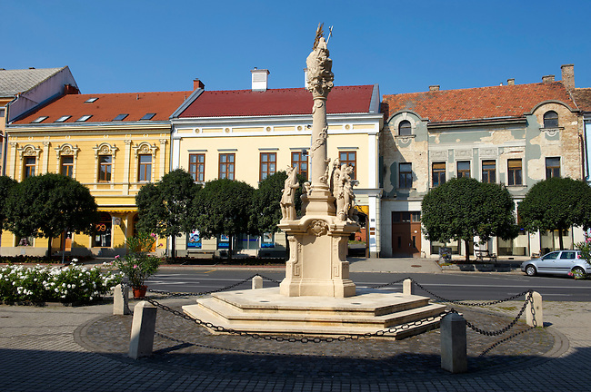 Cross on the main street of the old town - Tapolca, Balaton, Hungary