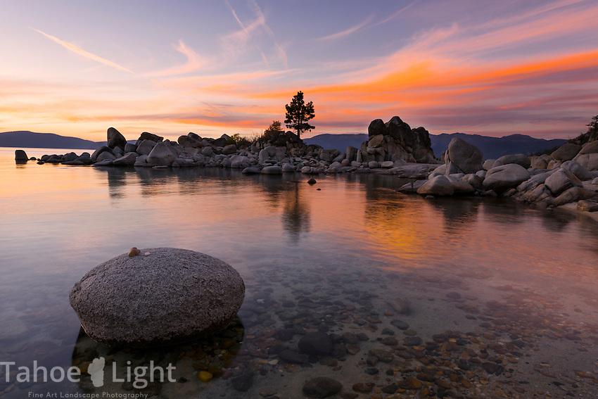 Lake Tahoe sunset at secret cove