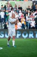 Jonjo Shelvey of Swansea  applauds fans after the Barclays Premier League match between Swansea City and Everton played at the Liberty Stadium, Swansea  on September 19th 2015