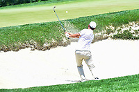 Bethesda, MD - July 1, 2018: John Huh hits a shot out of the bunker on hole 1 during final round of professional play at the Quicken Loans National Tournament at TPC Potomac at Avenel Farm in Bethesda, MD.  (Photo by Phillip Peters/Media Images International)