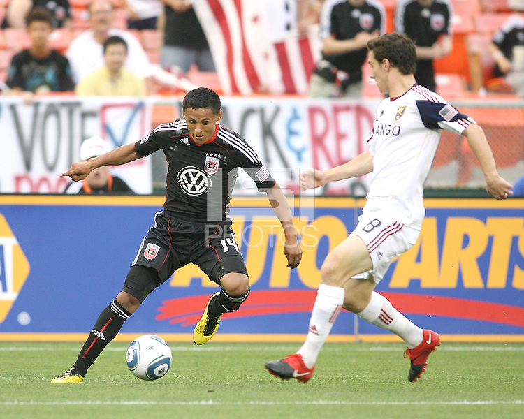 Andy Najar #14 of D.C. United controls the ball in front of Will Johnson #8 of Real Salt Lake during an MLS match at RFK Stadium, on June 5 2010 in Washington DC. The game ended in a 0-0 tie.