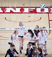STANFORD, CA - December 1, 2018: Meghan McClure, Jenna Gray, Tami Alade, Morgan Hentz, Kathryn Plummer, Kate Formico at Maples Pavilion. The Stanford Cardinal defeated Loyola Marymount 25-20, 25-15, 25-17 in the second round of the NCAA tournament.