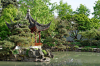 Chinese pagoda and pond in Dr, Sun Yat-Sen Park in Chinatown, Vancouver, BC, Canada