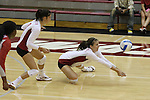 Jackie Albright (#2) and Kelly Hyder (#8) are shown during a Washington State volleyball match at Bohler Gym in Pullman, Washington, on September 11, 2009.