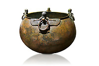 Phrygian bronze couldron with decorated winged figure handles . From Gordion. Phrygian Collection, 8th century BC - Museum of Anatolian Civilisations Ankara. Turkey. Against a white background