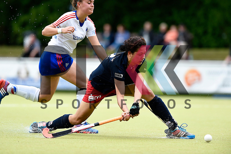 Ruesselsheim, Germany, May 16: During the 1. Bundesliga Damen match between Russelsheimer RK (dark blue) and Mannheimer HC (white) on May 16, 2015 at Ruesselsheimer RK in Ruesselsheim, Germany. Final score 1-6 (1-4).  Rebecca Schneider #22 of Ruesselsheimer RK<br /> <br /> Foto &copy; P-I-X.org *** Foto ist honorarpflichtig! *** Auf Anfrage in hoeherer Qualitaet/Aufloesung. Belegexemplar erbeten. Veroeffentlichung ausschliesslich fuer journalistisch-publizistische Zwecke. For editorial use only.