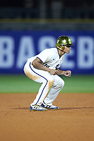 Eric Feliz (19) of the Notre Dame Fighting Irish takes his lead off of second base against the Louisville Cardinals in Game Eight of the 2017 ACC Baseball Championship at Louisville Slugger Field on May 25, 2017 in Louisville, Kentucky. The Cardinals defeated the Fighting Irish 10-3. (Brian Westerholt/Four Seam Images)