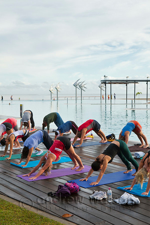 Morning yoga class at the Esplanade Lagoon.  Cairns, Queensland, Australia