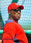 3 March 2011: Washington Nationals' third base coach Bo Porter watches batting practice prior to a Spring Training game against the St. Louis Cardinals at Roger Dean Stadium in Jupiter, Florida. The Cardinals defeated the Nationals 7-5 in Grapefruit League action. Mandatory Credit: Ed Wolfstein Photo