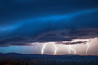 Lightning Storm, Jackson Hole, Wyoming. All of the action is over Grand Teton National Park but the photo was taken from the Bridger Teton National Forest.<br />