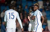 Darnell Johnson (5) (Leicester City) of England U20 celebrates his goal during the International friendly match between England U20 and Netherlands U20 at New Bucks Head, Telford, England on 31 August 2017. Photo by Andy Rowland.
