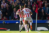 Eric Maxim Choupo-Moting (10) of Stoke City celebrates his first goal dancing with Kurt Zouma of Stoke City during the Premier League match between Stoke City and Manchester United at the Britannia Stadium, Stoke-on-Trent, England on 9 September 2017. Photo by Andy Rowland.