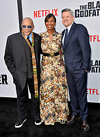 "LOS ANGELES, USA. June 04, 2019: Qunicy Jones, Nicole Avant, & Ted Sarandos at the premiere for ""The Black Godfather"" at Paramount Theatre.<br /> Picture: Paul Smith/Featureflash"