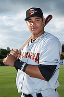 Jomar Reyes (20) of the Delmarva Shorebirds poses for a photo prior to the game against the Kannapolis Intimidators at CMC-Northeast Stadium on June 4, 2015 in Kannapolis, North Carolina.  The Shorebirds defeated the Intimidators 8-2.  (Brian Westerholt/Four Seam Images)