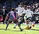 Valencia CF's  Pablo Piatti and Rayo Vallecano's Quini during La Liga match. January 17, 2016. (ALTERPHOTOS/Javier Comos)