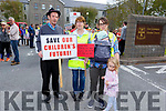3 generations of the O'Sullivan family from East Kerry concerned about the issue on Battery storage, holding a protest at the Kerry Co Council building on Monday. <br /> Maurice and Clare O'Sullivan, Clodagh and Shane Wharton and Anita O'Sullivan Wharton
