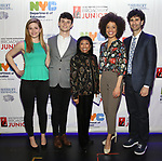 Molly Griggs, Charlie Stemp, Baayork Lee, Sasha Hutchings and John Cariani backstage at The Fourth Annual High School Theatre Festival at The Shubert Theatre on March 19, 2018 in New York City.