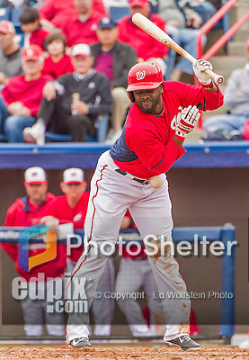 7 March 2015: Washington Nationals outfielder Tony Gwynn is hit by an inside pitch during Spring Training action against the St. Louis Cardinals at Space Coast Stadium in Viera, Florida. The Nationals rallied to defeat the Cardinals 6-5 in Grapefruit League play. Mandatory Credit: Ed Wolfstein Photo *** RAW (NEF) Image File Available ***