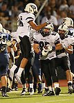Cedar Ridge defense celebrates Cody Sze's  fumble recovery in the first half against Stony Point.  (LOURDES M SHOAF for Round Rock Leader.)