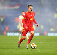 19th November 2019; Cardiff City Stadium, Cardiff, Glamorgan, Wales; European Championships 2020 Qualifiers, Wales versus Hungary; Aaron Ramsey of Wales comes forward on the ball - Editorial Use