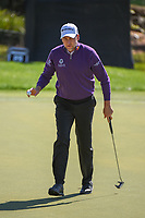 Ian Poulter (ENG) after sinking his putt on 18 during round 1 of the Arnold Palmer Invitational at Bay Hill Golf Club, Bay Hill, Florida. 3/7/2019.<br />