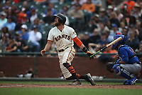 SAN FRANCISCO, CA - AUGUST 9:  Hunter Pence #8 of the San Francisco Giants hits a home run against the Chicago Cubs during the game at AT&T Park on Wednesday, August 9, 2017 in San Francisco, California. (Photo by Brad Mangin)