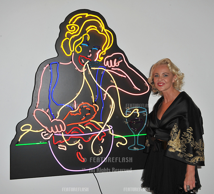 "Amanda Eliasch at reception for her neon art exhibition ""Peccadilloes"" at the Leadapron Gallery, West Hollywood..June 16, 2011  Los Angeles, CA.Picture: Paul Smith / Featureflash"