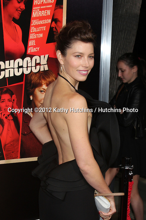 LOS ANGELES - NOV 20:  Jessica Biel arrives at the Los Angeles  'Hitchcock' Premiere at Academy of Motion Pictures Arts and Sciences on November 20, 2012 in Beverly Hills, CA