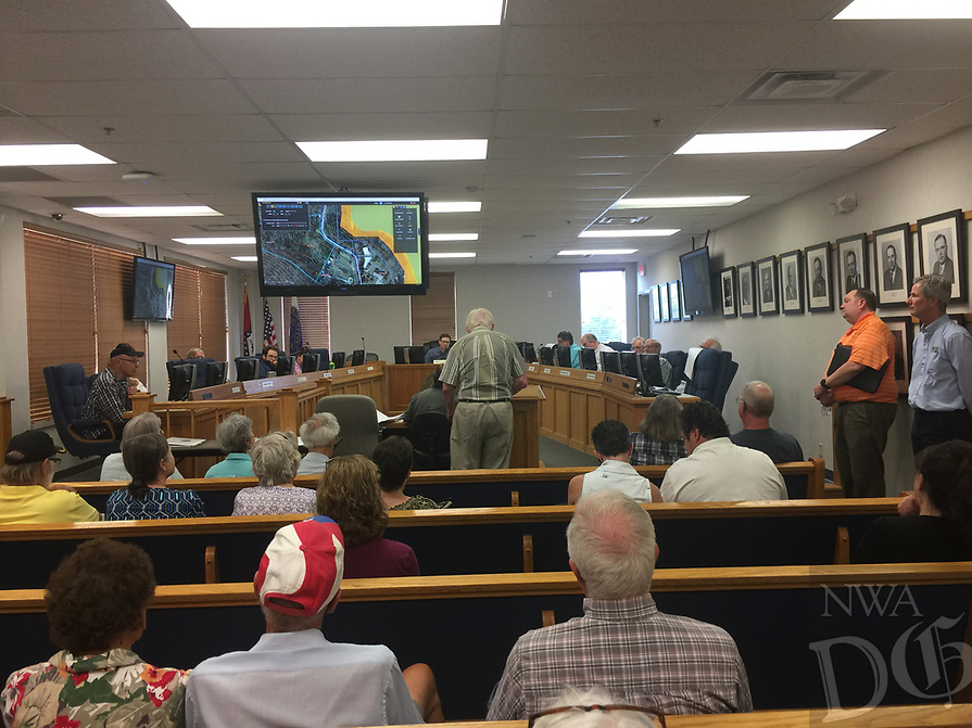 NWA DEMOCRAT-GAZETTE/TRACY M. NEAL Residents spoke out against a proposed winery on Larue Road during a public hearing Wednesday at the Benton County Planning Board's meeting. The board approved the application for the winery.