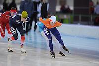 SPEEDSKATING: SOCHI: Adler Arena, 19-03-2013, Training, Benjamin Macé (FRA), Marrit Leenstra (NED), © Martin de Jong