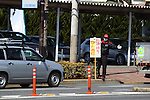 """March 17, 2011, Tokyo, Japan - A gasoline station sign tells drivers """"stay in line with hazard lamps on"""" due to lack of gasoline. A series of fires and suspended operations at oil refineries in the wake of Friday's massive earthquake in northern Japan are contributing to shortages of gasoline, diesel and other petroleum products in the greater Tokyo area. (Photo by YUTAKA/AFLO) [1040]"""