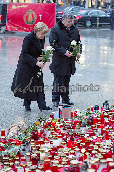 Following their conversation on 30 January 2017, Federal Chancellor Angela Merkel and Ukrainian President Petro Poroshenko commemorate the victims of the Islamic terrorist attack on 19 December. Among the twelve death sacrifices was also a Ukrainian. <br /> Photo Credit: Stocki/face to face/AdMedia