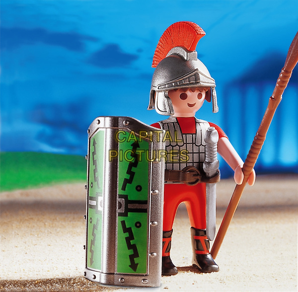 PLAYMOBIL.toy characters scene atmosphere gv general view gladiator armour shield helmet .*Editorial Use Only*.CAP/PLF.Supplied by Capital Pictures.