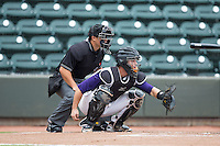 Winston-Salem Dash catcher Chris O'Dowd (14) sets a target as home plate umpire Cody Clark looks on during the game against the Wilmington Blue Rocks at BB&T Ballpark on June 5, 2016 in Winston-Salem, North Carolina.  The Blue Rocks defeated the Dash 6-2 in the completion of the game suspended on June 4, 2016.   (Brian Westerholt/Four Seam Images)