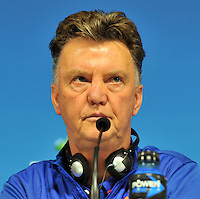 SAO PAULO - BRASIL -09-07-2014. Louis Van Gaal   director tecnico de Holanda durante  la conferencia de prensa que ofrecio la seleccion Holandesa de futbol antes de su encuentro contra Argentina  en el estadio Arena Corinthians / Louis Van Gaal  coach  of Holland  during the news conference that offered the Select function Holland football before their match against Argentina  at Arena Corinthias  stadium. Photo: VizzorImage / Alfredo Gutierrez / Contribuidor