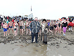 Mayor of Drogheda Paul Bell and Isobel SanRoma at start of the annual Chernobyl swim at Clogherhead.  Photo:Colin Bell/pressphotos.ie