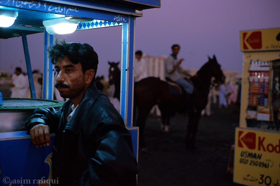 Local tourists at a sea side kiosk in Karachi
