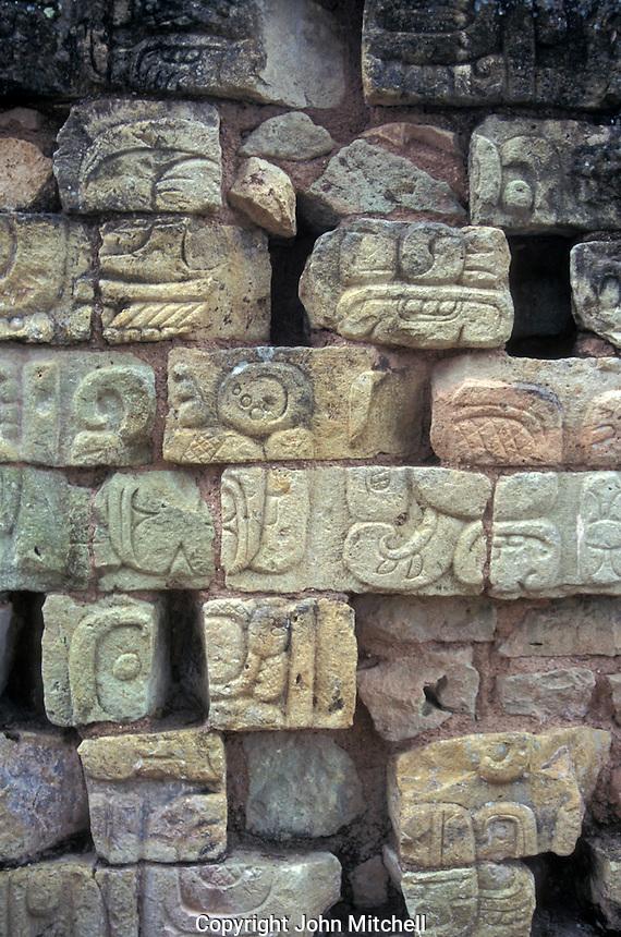 Mayan stone glyphs at the Maya ruins of Copan, Honduras