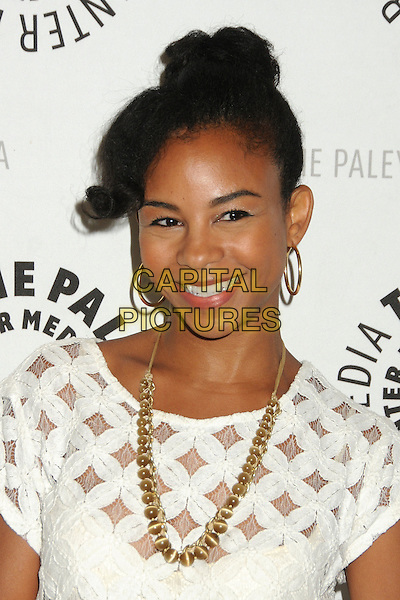"Aasha Davis.""Husbands"" Season Two Premiere Panel held at The Paley Center for Media, Beverly Hills, California, USA..August 13th, 2012.headshot portrait white lace gold necklace   .CAP/ADM/BP.©Byron Purvis/AdMedia/Capital Pictures."