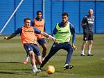 19.04.2019 Rangers training: James Tavernier and Connor Goldson