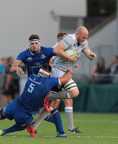 25th August 2017, Donnybrook Stadium, Dublin, Ireland; Pre Season Rugby Friendly; Leinster Rugby versus Bath Rugby; Matt Garvey (Captain Bath) attempts to get past Mick Kearney (Leinster)