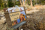 A sign welcomes guests to the Hawkwatch International raptor migration study area area in the Goshute mountains of eastern nevada