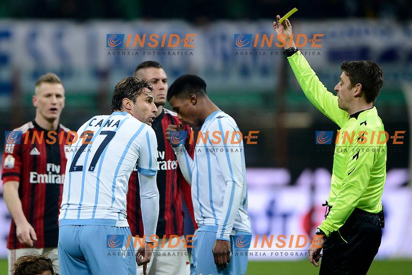 Ammonzione Lorik Cana Lazio<br /> Milano 27-01-2015 Stadio Giuseppe Meazza - Football Calcio Coppa Italia Milan - Lazio. Foto Giuseppe Celeste / Insidefoto