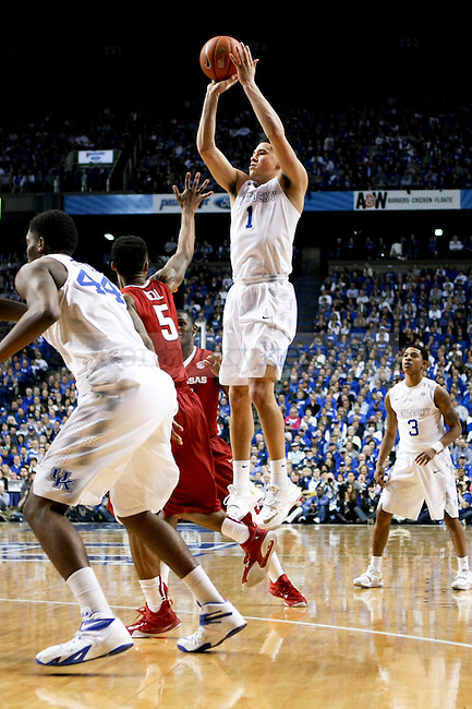 Kentucky guard Devin Booker shoots over the Arkansas defense during the second half of the University of Kentucky vs. Arkansas at Rupp Arena in Lexington , Ky., on Saturday, February 28, 2015. Photo by Jonathan Krueger | Staff
