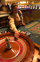 Arrays of slot machines, roulette and baccarat tables and a VIP lounge grace the casino at the Conrad Resort and Casino in Punta del Este, Uruguay. The venerable South American beach resort is having a rennaisance. (Kevin Moloney for the New York Times)