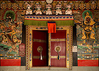 Doors of a Monastery painted by Lamas, Sikkim, India